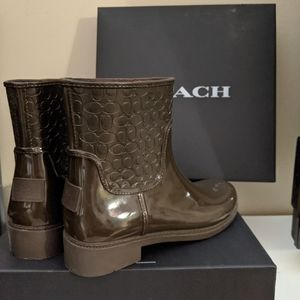 Coach signature rain boots booties